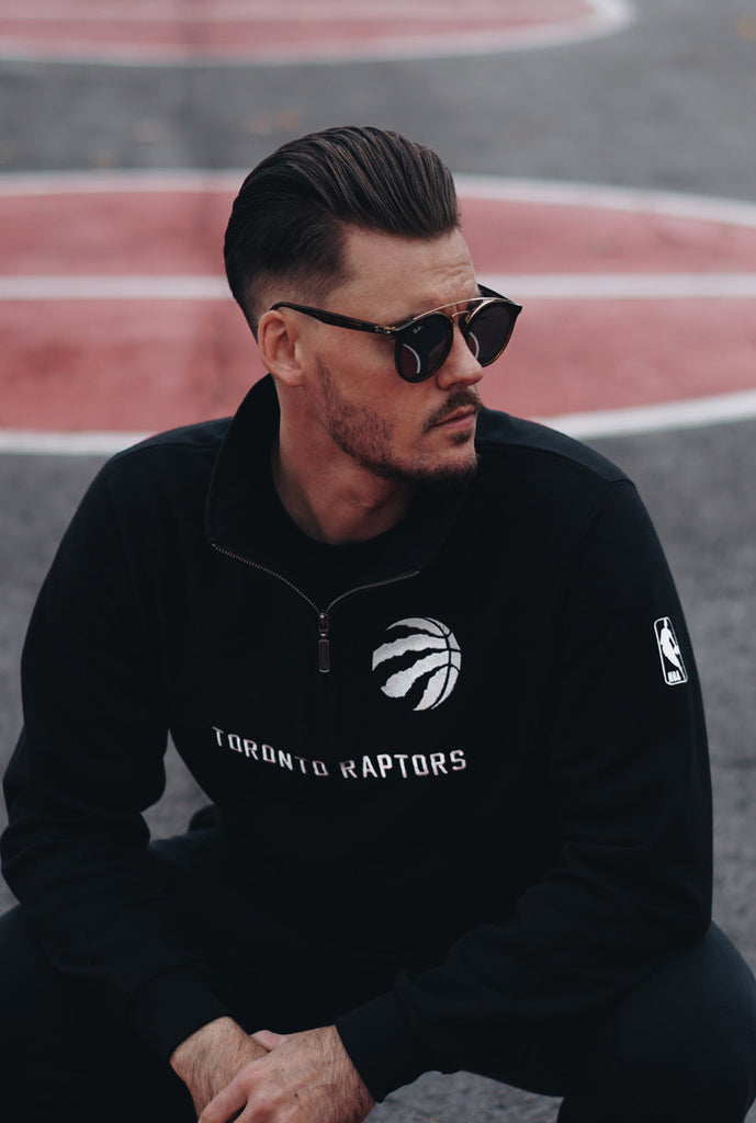 Toronto Raptors Quarter Zip Sweater - Black