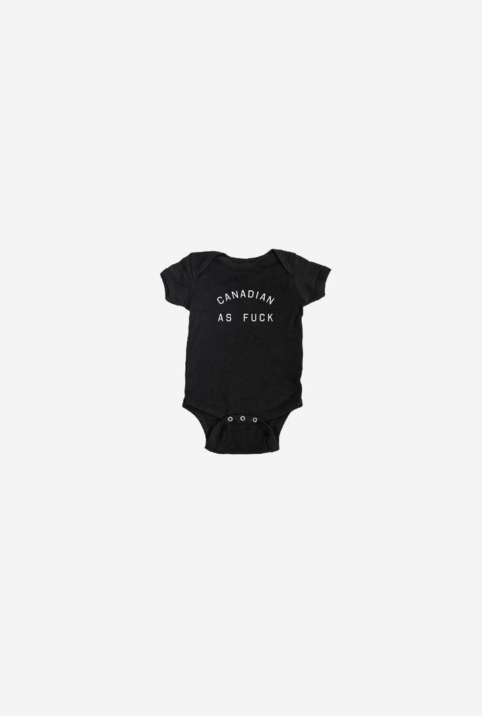 Canadian As Fuck Short Sleeve Onesie - Black