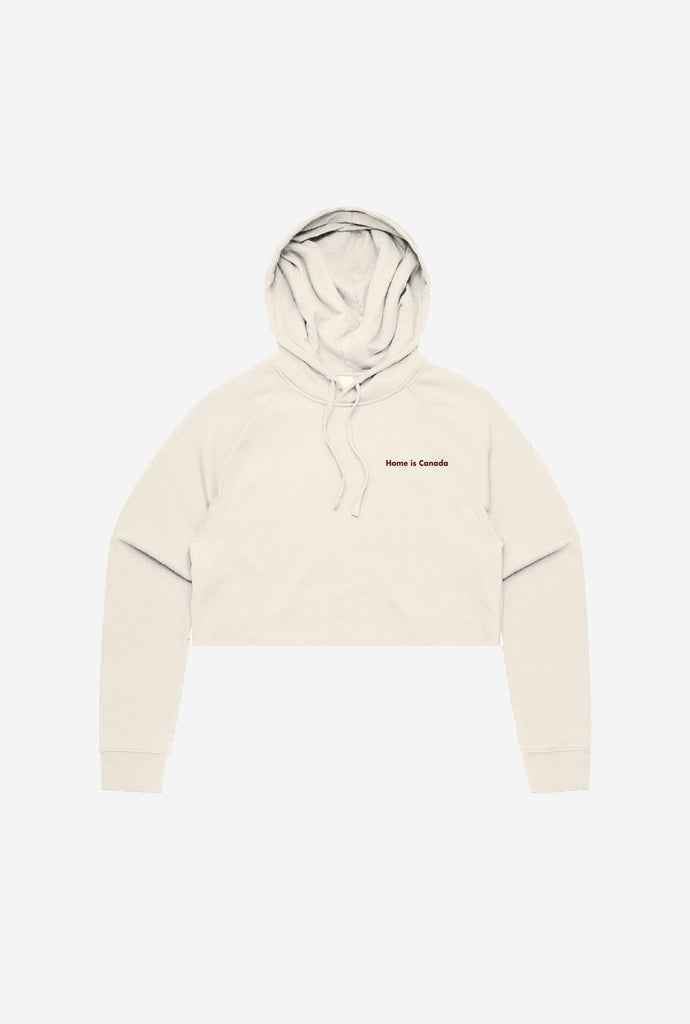 Home is Canada Minimal Premium Cropped Hoodie - Natural