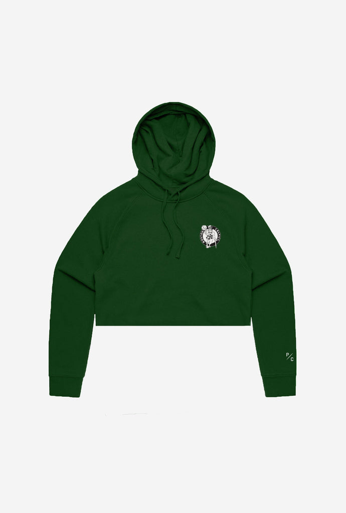 Boston Celtics Logo Cropped Hoodie - Forest Green
