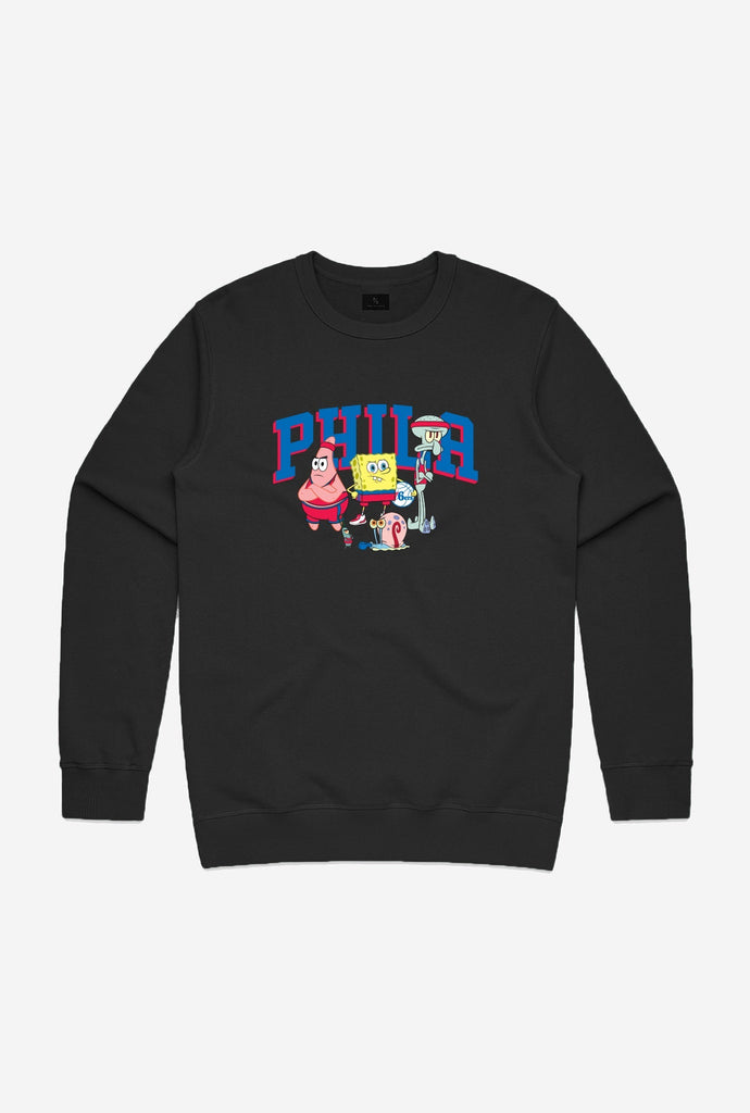 NBA x Spongebob Philadelphia 76ers Team Crewneck - Black