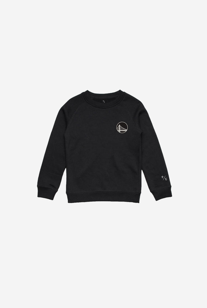Golden State Warriors Logo Kids Crewneck - Black