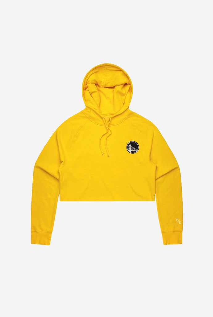 Golden State Warriors Logo Cropped Hoodie - Yellow