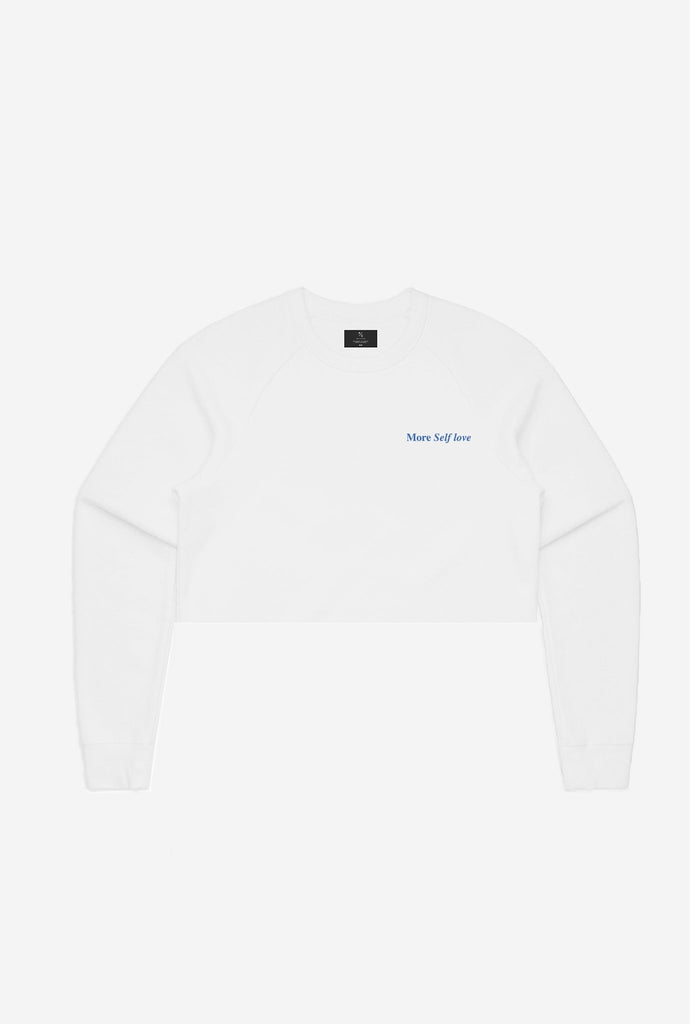 More Self Love Cropped Crewneck - White
