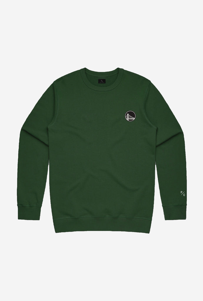 Golden State Warriors Logo Crewneck - Forest Green