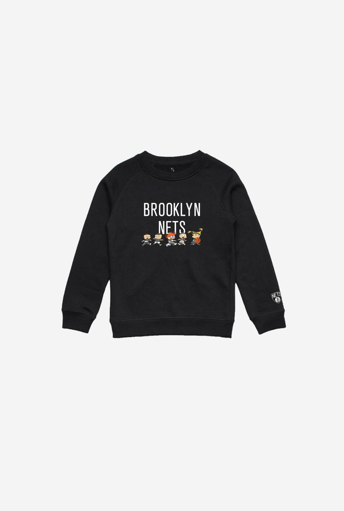 NBA x Rugrats Brooklyn Nets Team Kids Crewneck - Black