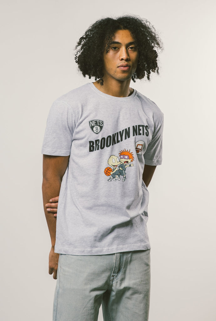 NBA x Rugrats Brooklyn Nets Tommy/Chuckie T-Shirt - Ash