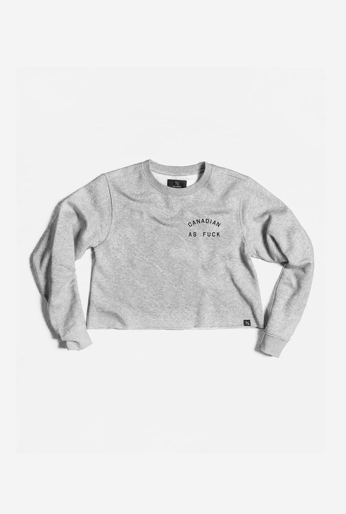 Canadian as Fuck Cropped Crewneck - Grey