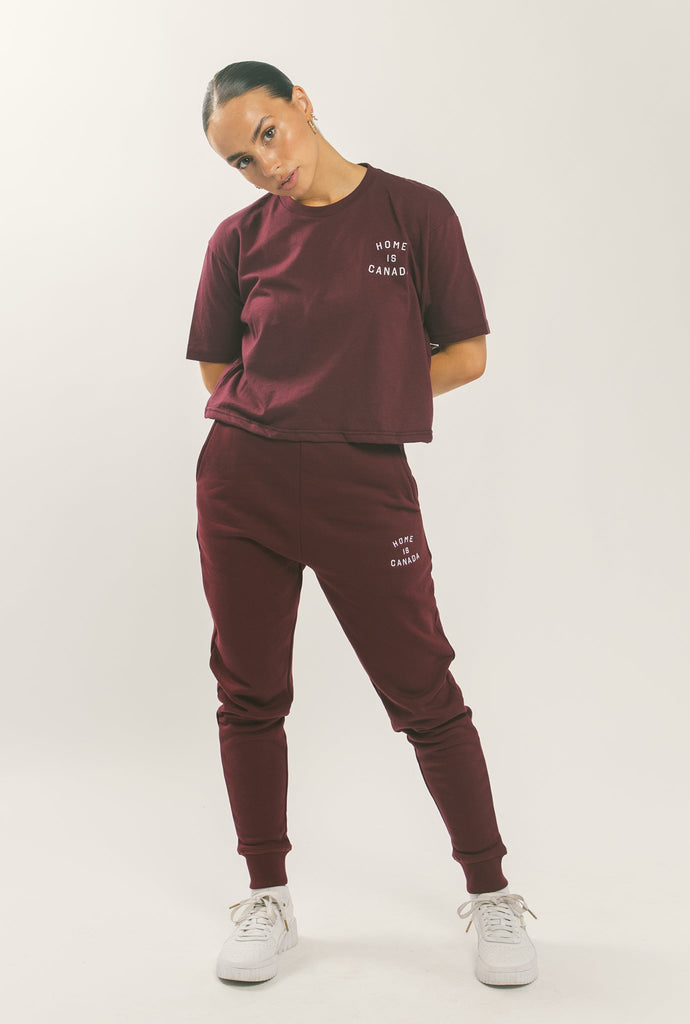 Home is Canada Crescent Cropped T-Shirt - Maroon