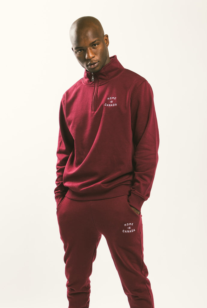 Home is Canada 1/4 Zip - Maroon