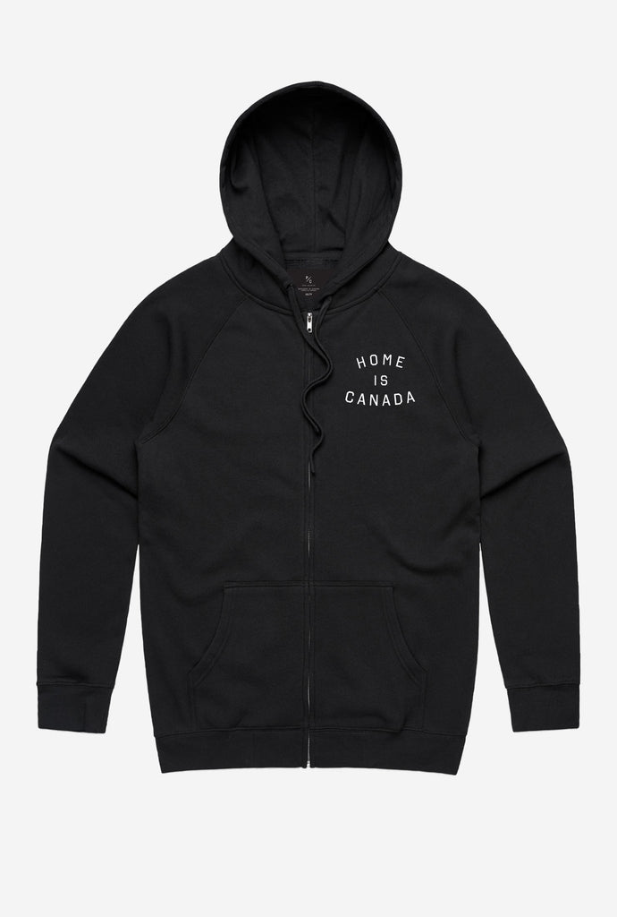 Home is Canada Zip Up Hoodie - Black