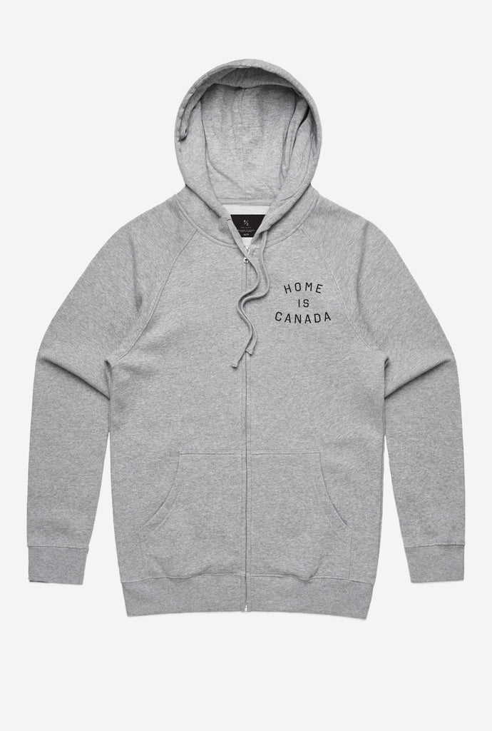 Home is Canada Zip Up Hoodie - Grey