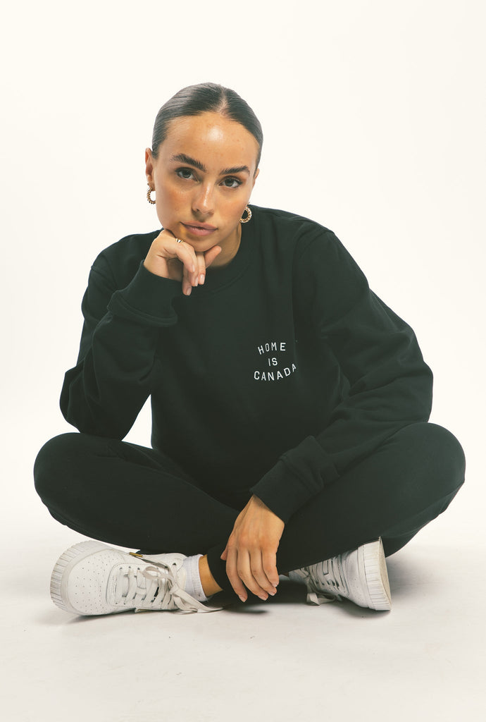Home is Canada Crescent Cropped Crewneck - Black