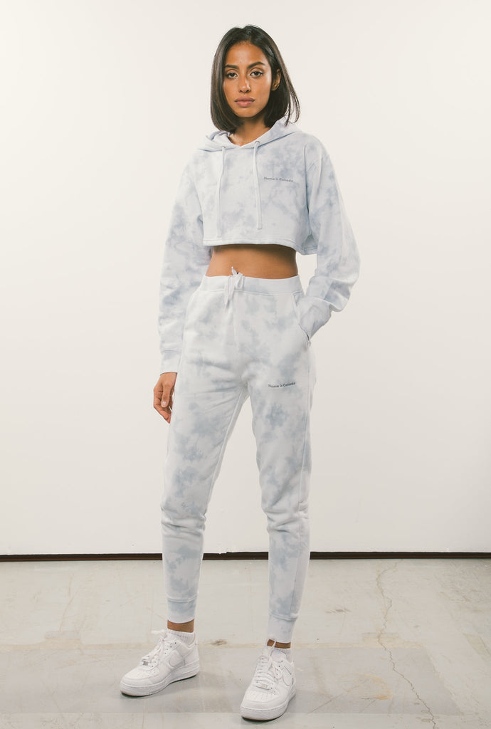 Home is Canada Tie Dye Slim Fit Jogger - White/Grey