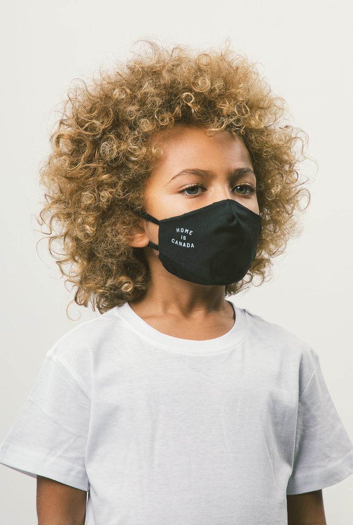 Home is Canada Kids Face Mask - Black