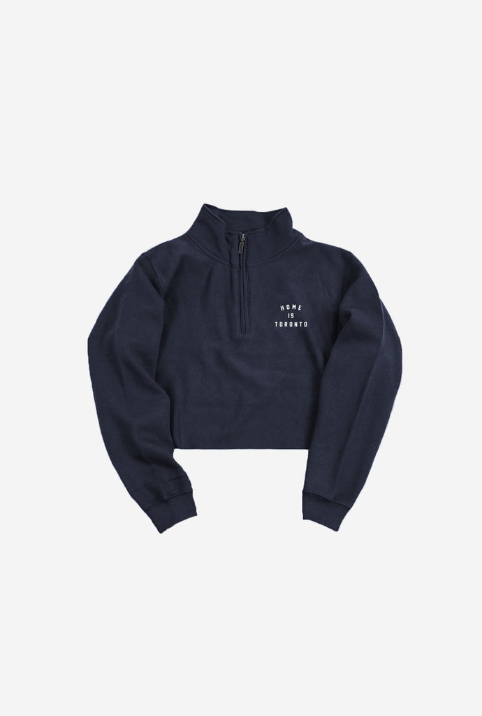 Home is Toronto Crescent Cropped 1/4 Zip - Navy