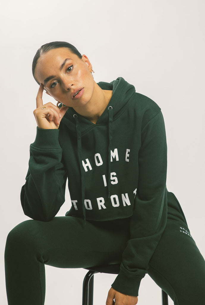 Home is Toronto Varsity Cropped Hoodie - Forest Green