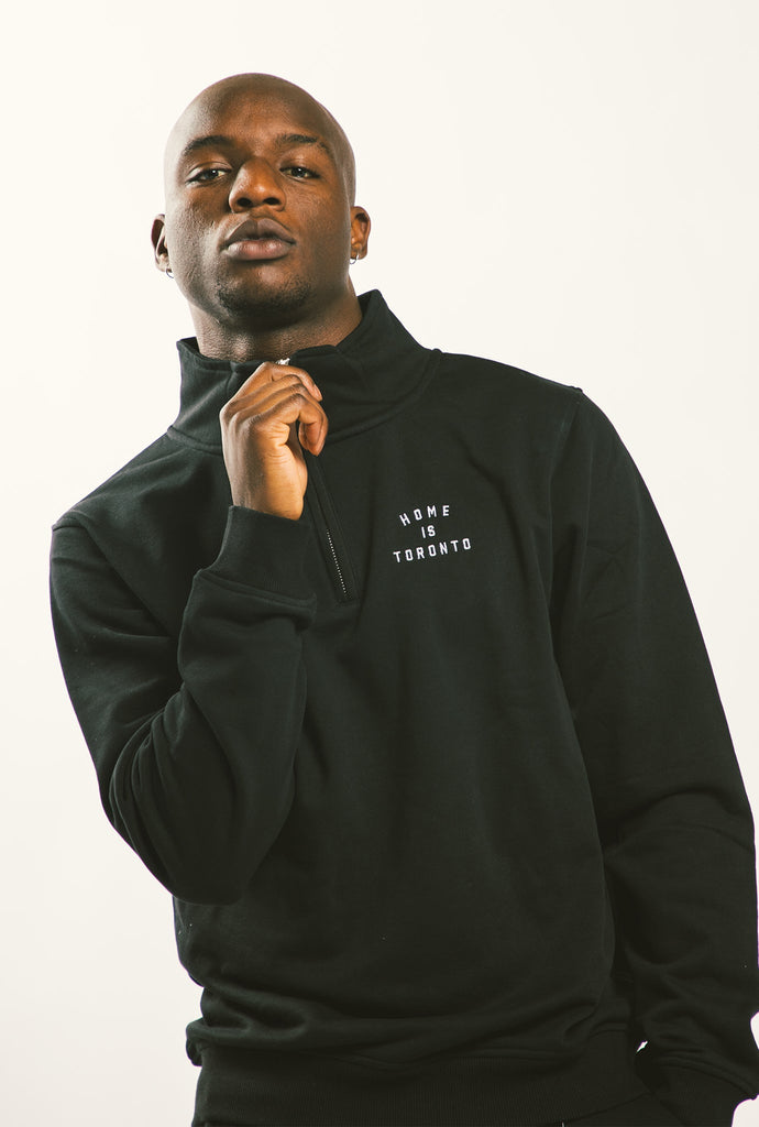 Home is Toronto Crescent 1/4 Zip - Black