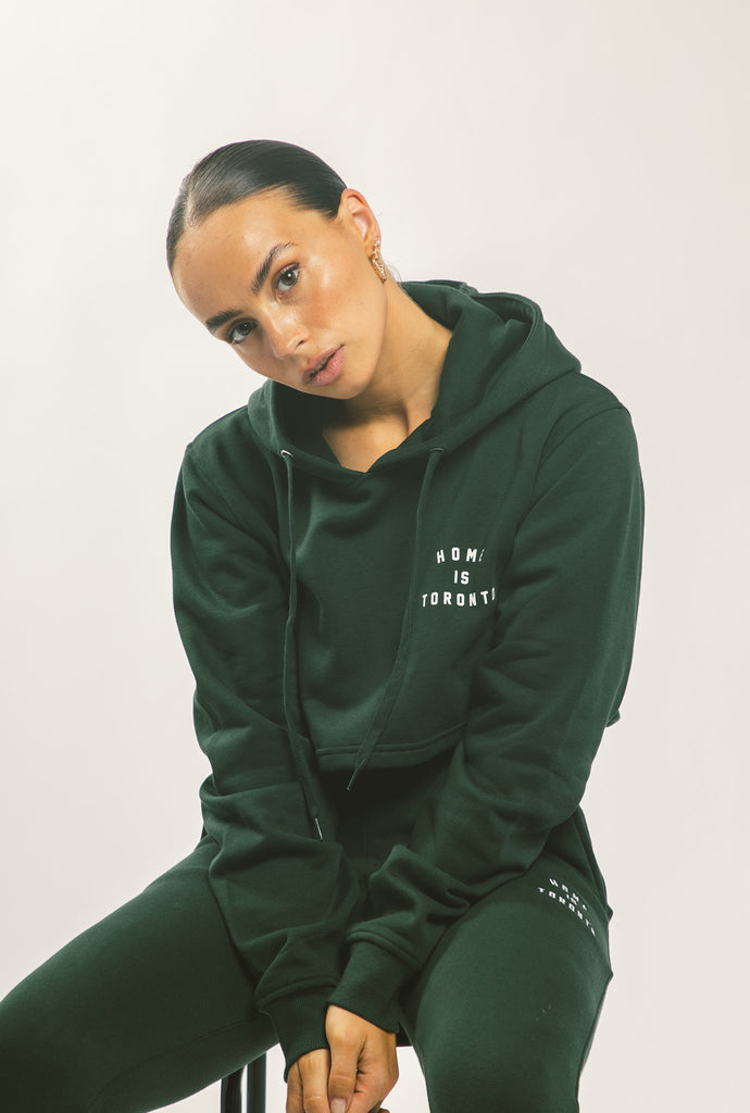 Home is Toronto Crescent Cropped Hoodie - Forest Green