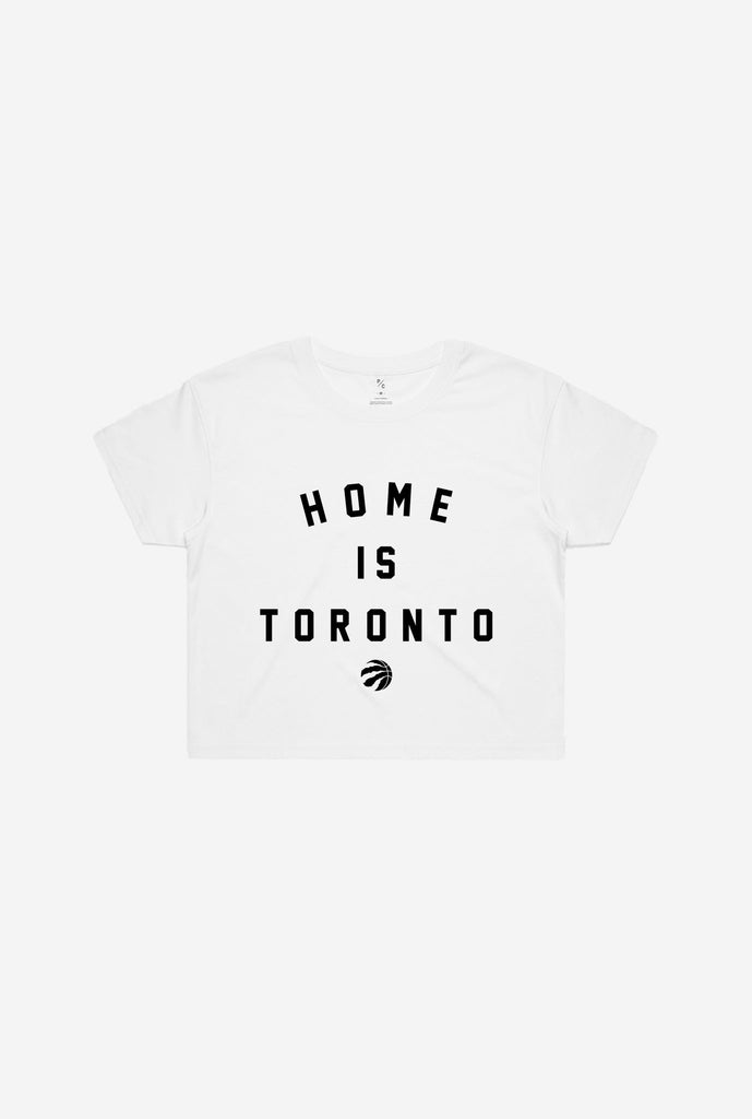 Home is Toronto Raptor Ball Cropped T-Shirt - White