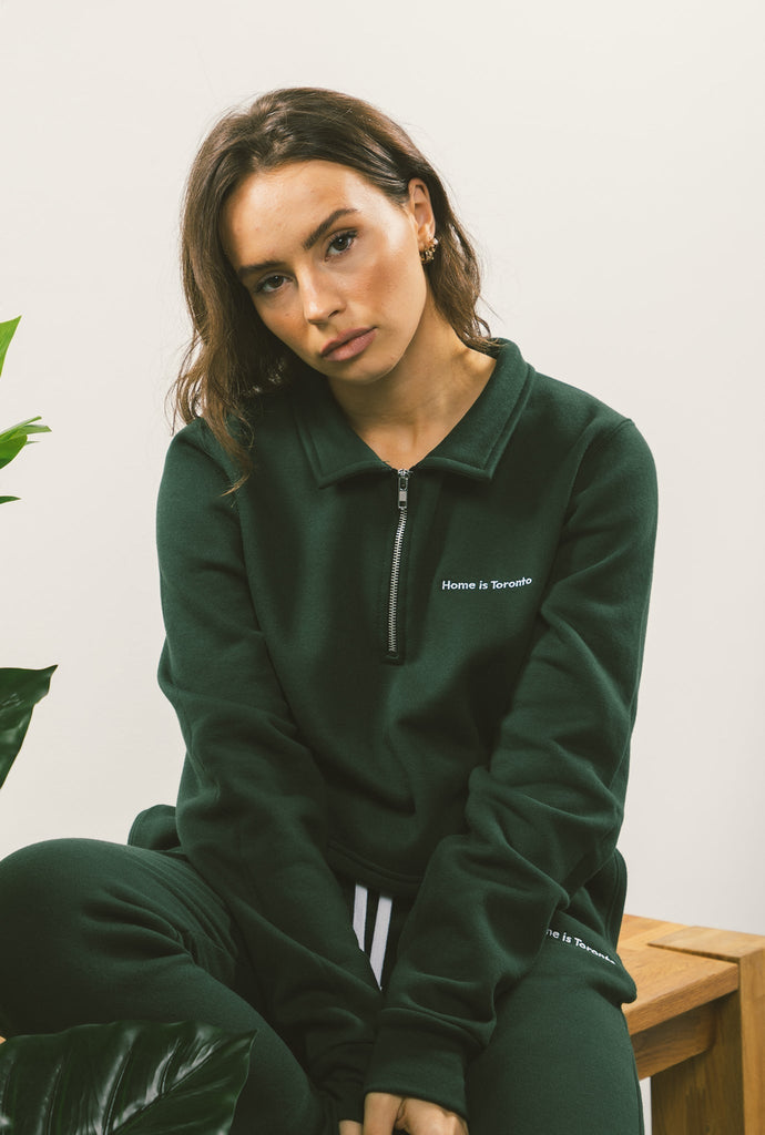 Home is Toronto Minimal Women's Cropped 1/4 Zip - Forest Green