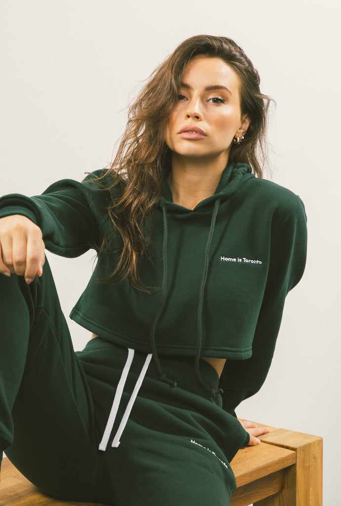 Home is Toronto Minimal Cropped Hoodie - Forest Green
