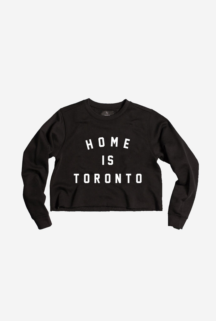 Home is Toronto Varsity Cropped Crewneck - Black