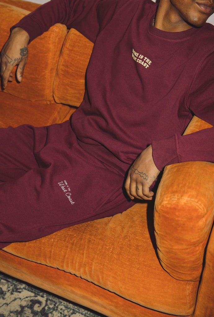 Home is The West Coast Wave Crewneck - Maroon
