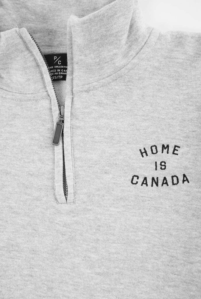 Home is Canada 1/4 Zip Sweater - Grey