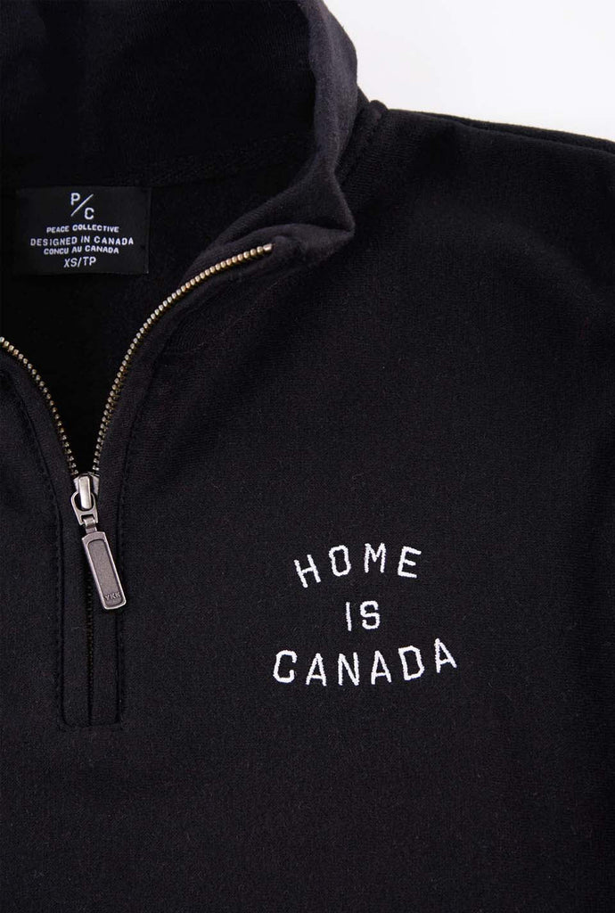 Home is Canada 1/4 Zip Sweater - Black