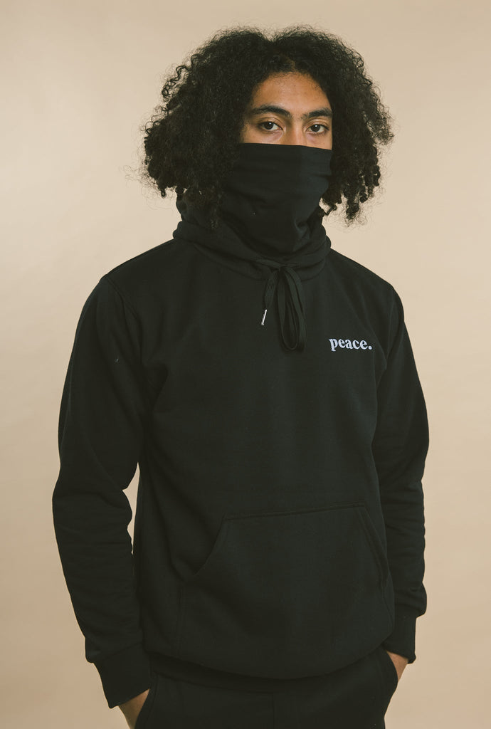 Peace Essentials Face Mask Hoodie - Black