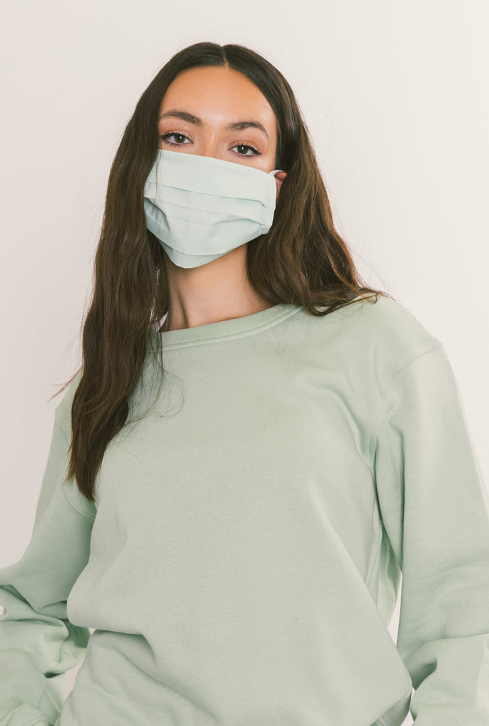 Peace Pleated Face Mask - Mint