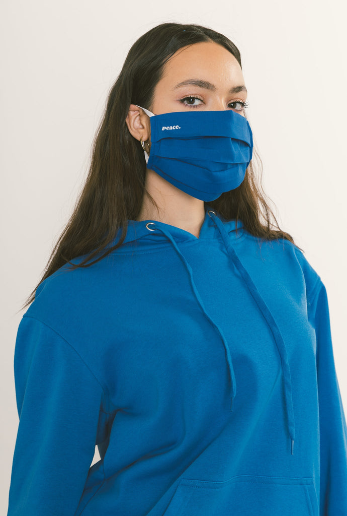 Peace Pleated Face Mask - Royal