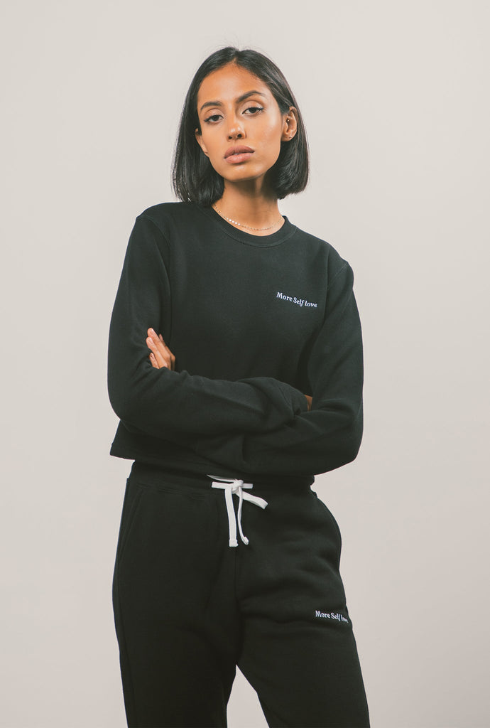 More Self Love Cropped Crewneck - Black