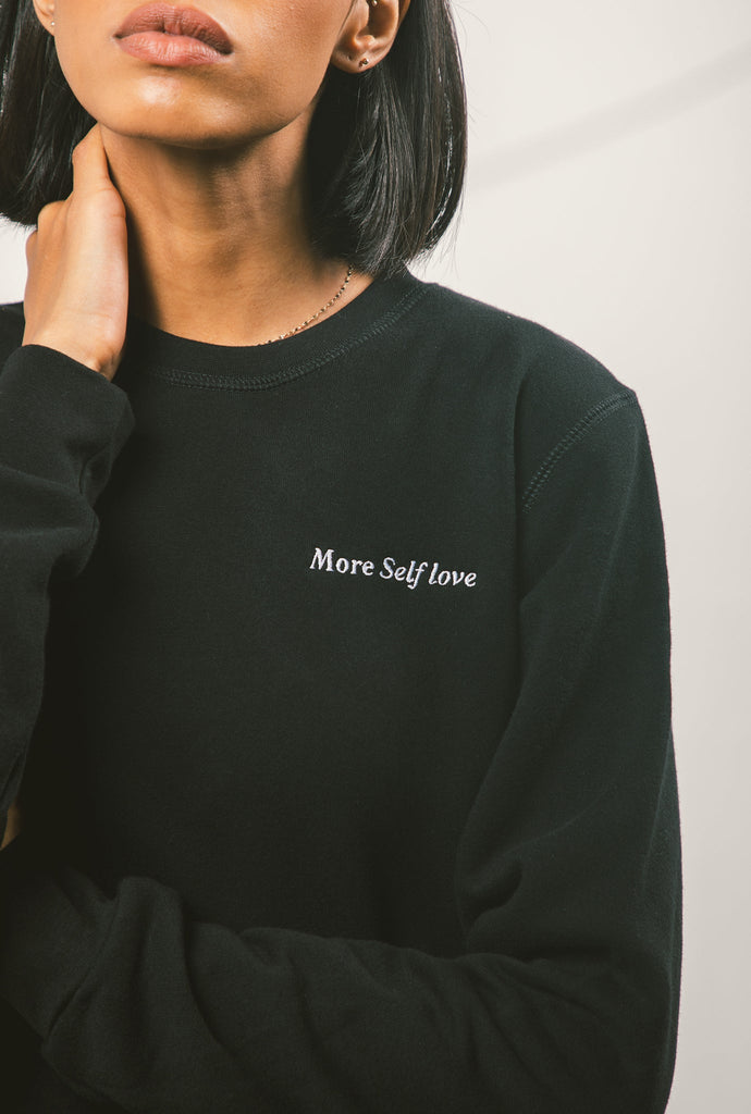 More Self Love Premium Cropped Crewneck - Black