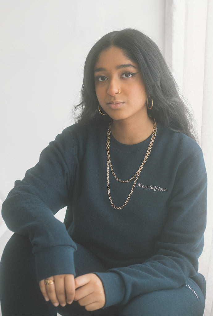 More Self Love Cropped Crewneck - Navy