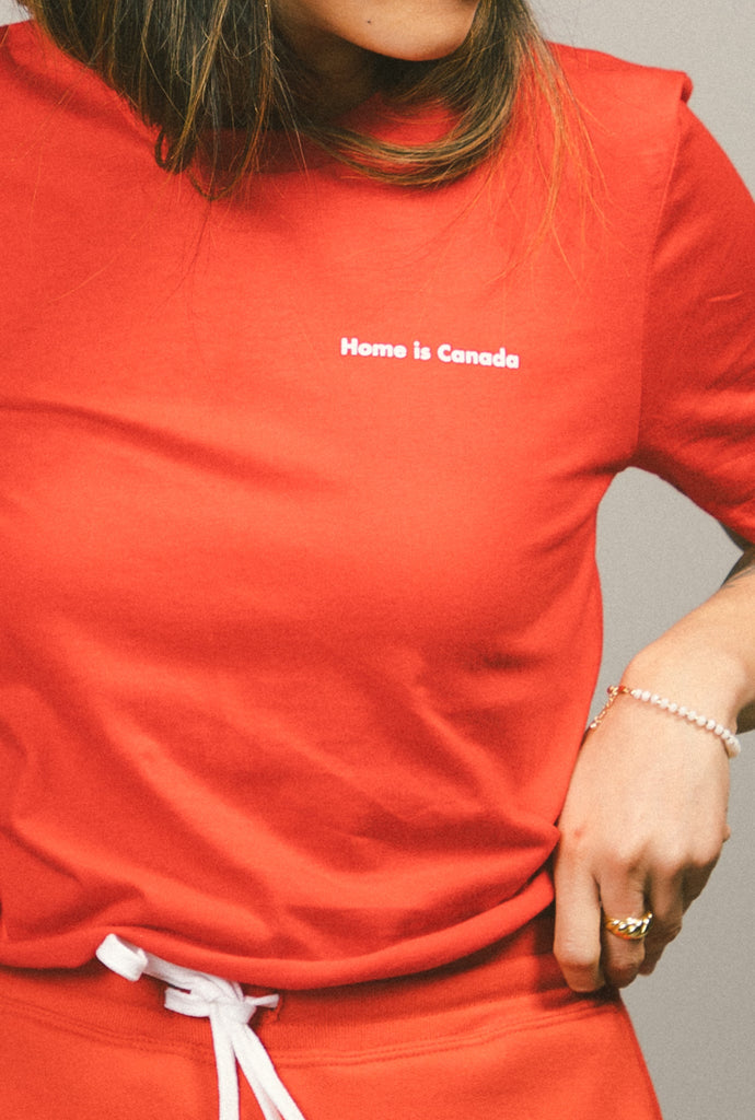 Home is Canada Cropped Logo T-Shirt - Red