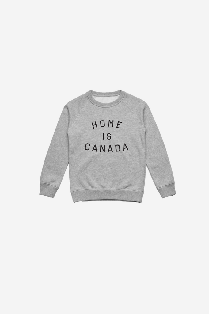Home is Canada Kids Crewneck - Grey