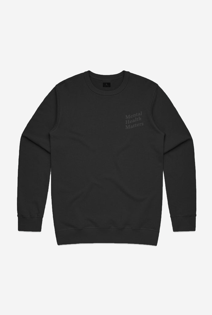Mental Health Matters Crewneck - Tonal Black