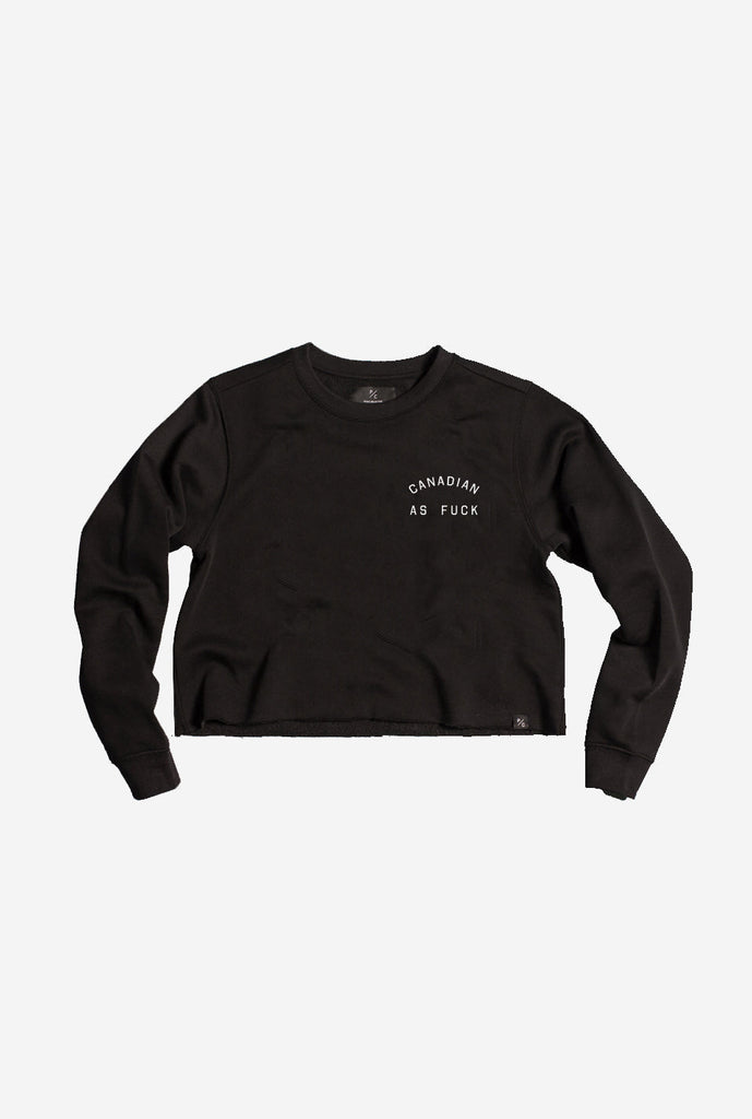 Canadian as Fuck Cropped Crewneck - Black