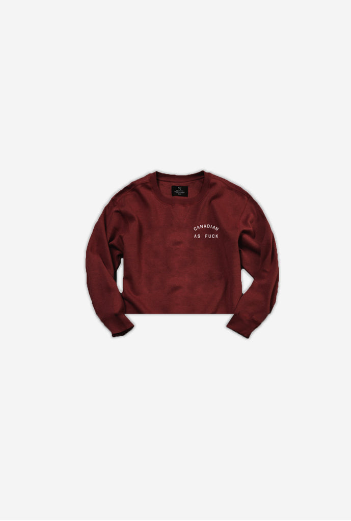 Canadian as Fuck Cropped Crewneck - Maroon