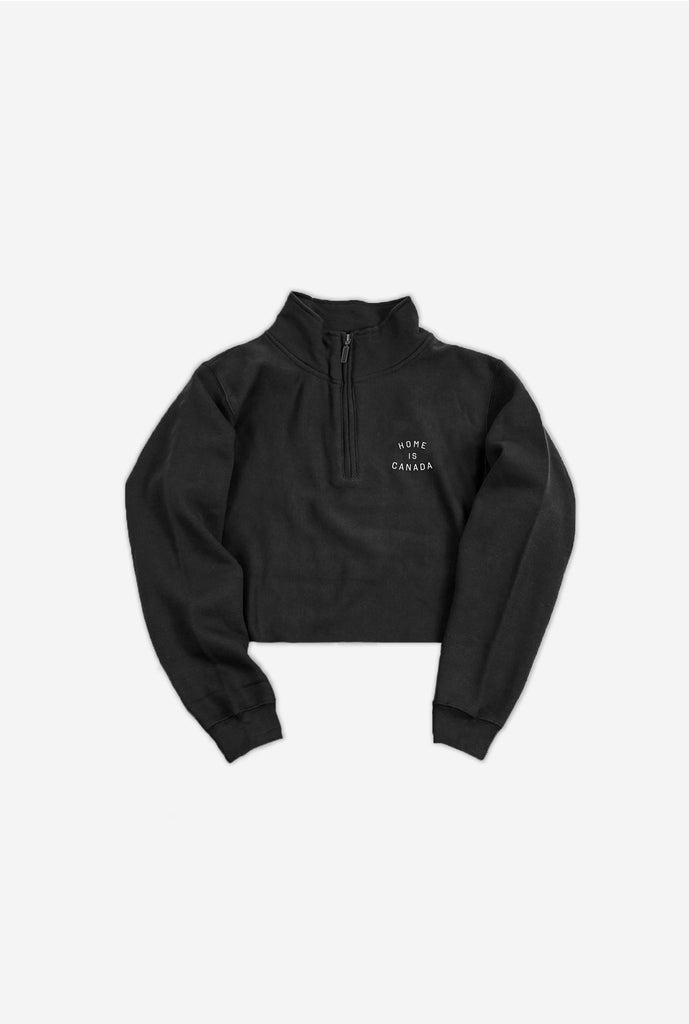 Home is Canada Cropped 1/4 Zip - Black