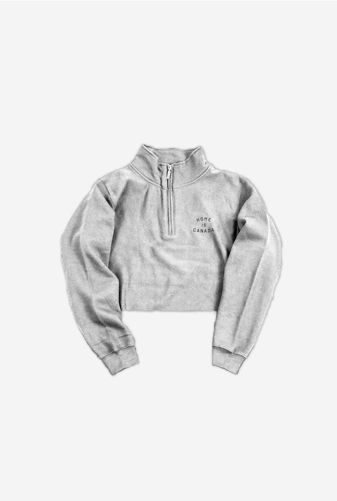 Home is Canada Cropped Quarter Zip - Grey