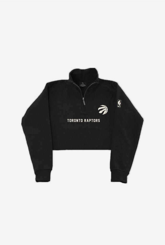 Toronto Raptors Cropped Quarter Zip Sweater - Black
