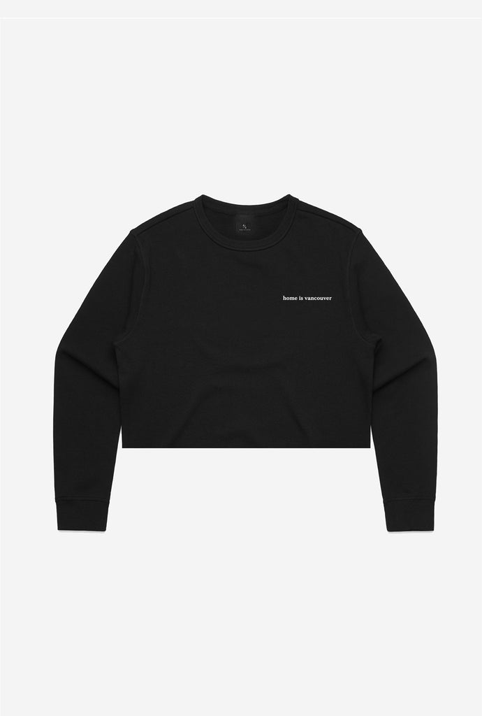 Home is Vancouver Crescent Cropped Crewneck Black