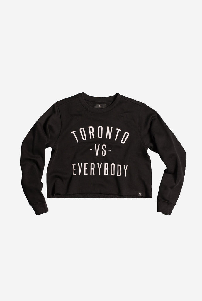 Toronto -vs- Everybody Cropped Crewneck - Black