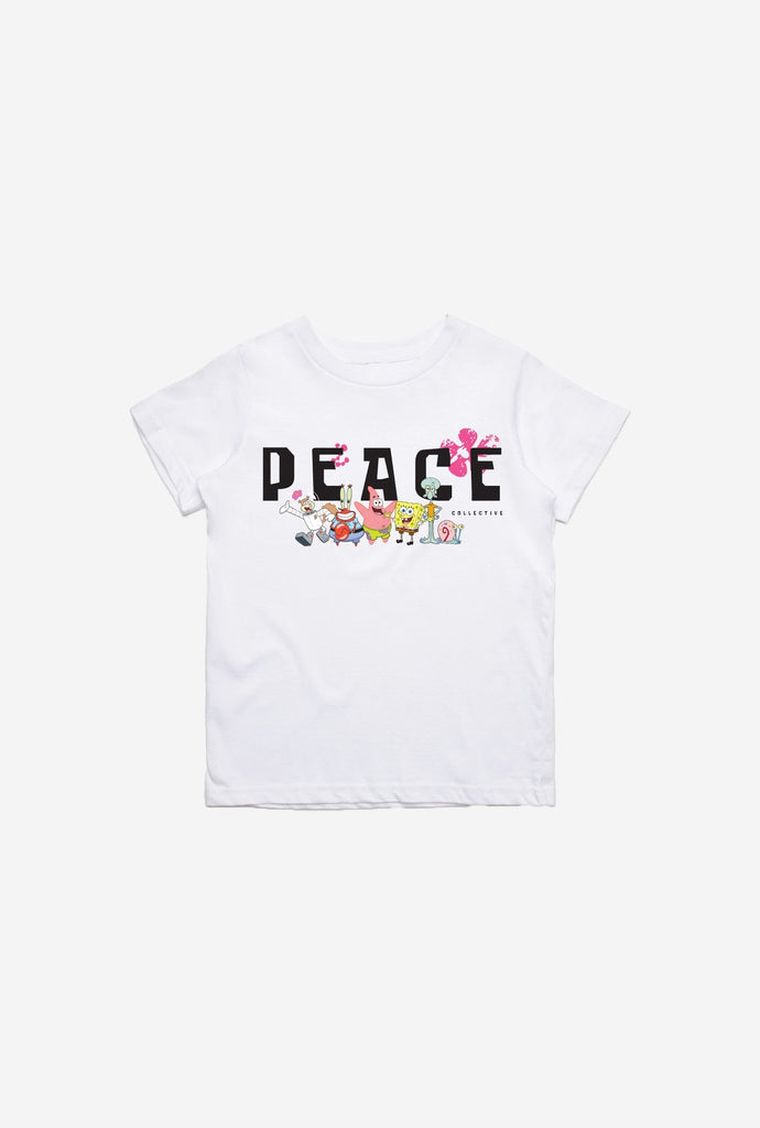 P/C x Spongebob Squarepants Peace Kids T-Shirt - White