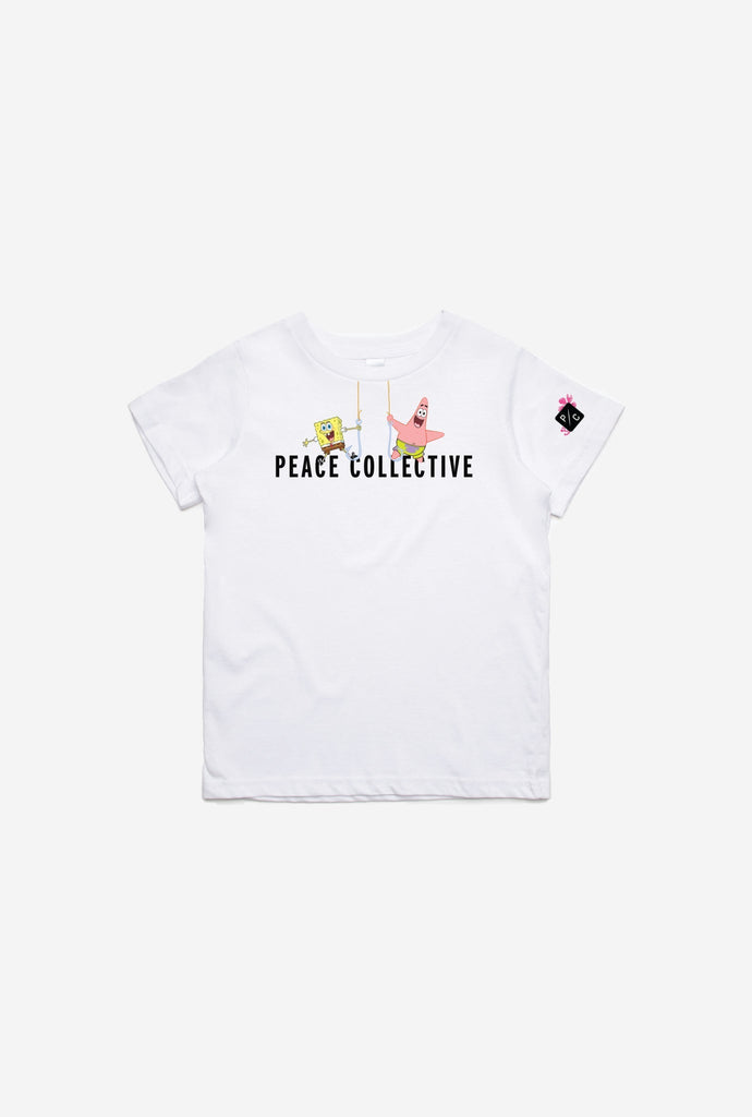 P/C x Spongebob Squarepants Logo Kids T-Shirt - White