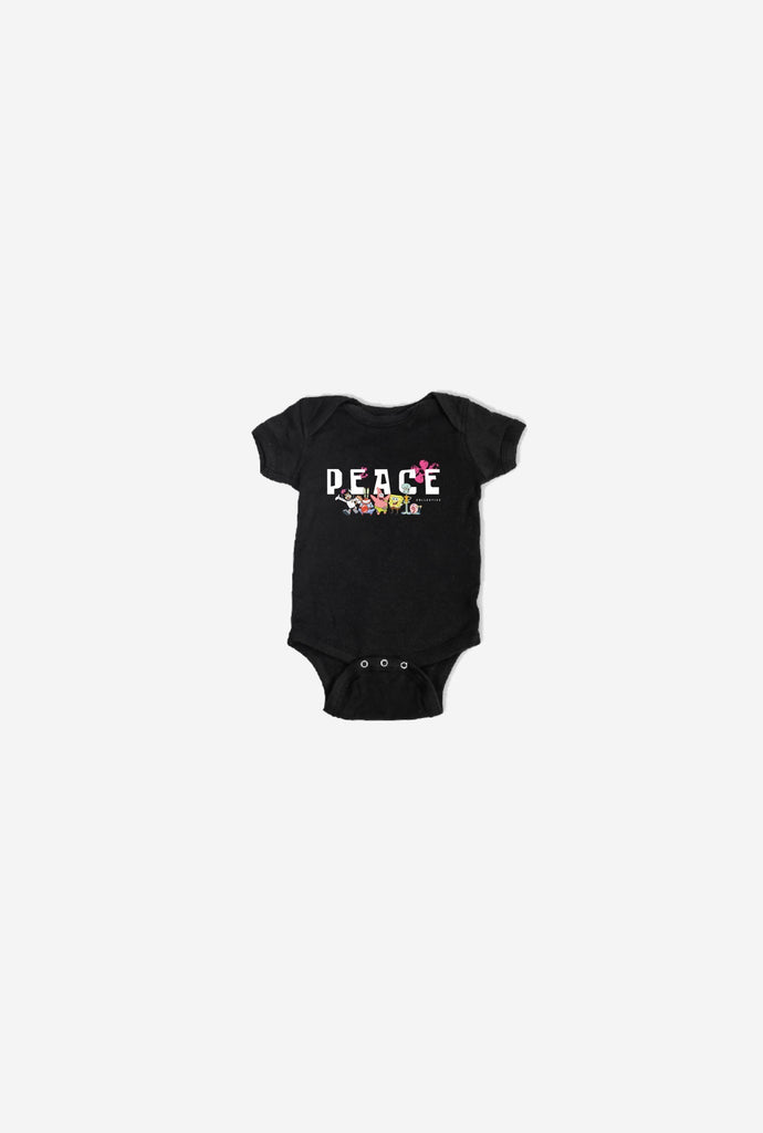 Final Sale - P/C x Spongebob Squarepants Peace Short Sleeve Onesie - Black