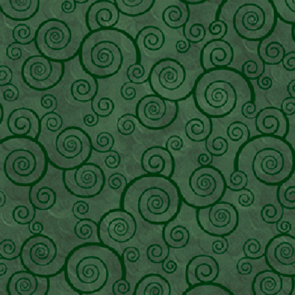 HARMONY 24778 F Curly Scroll Forest Green Quilting Treasures